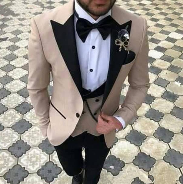 Black Lapel Suits Groom Custom