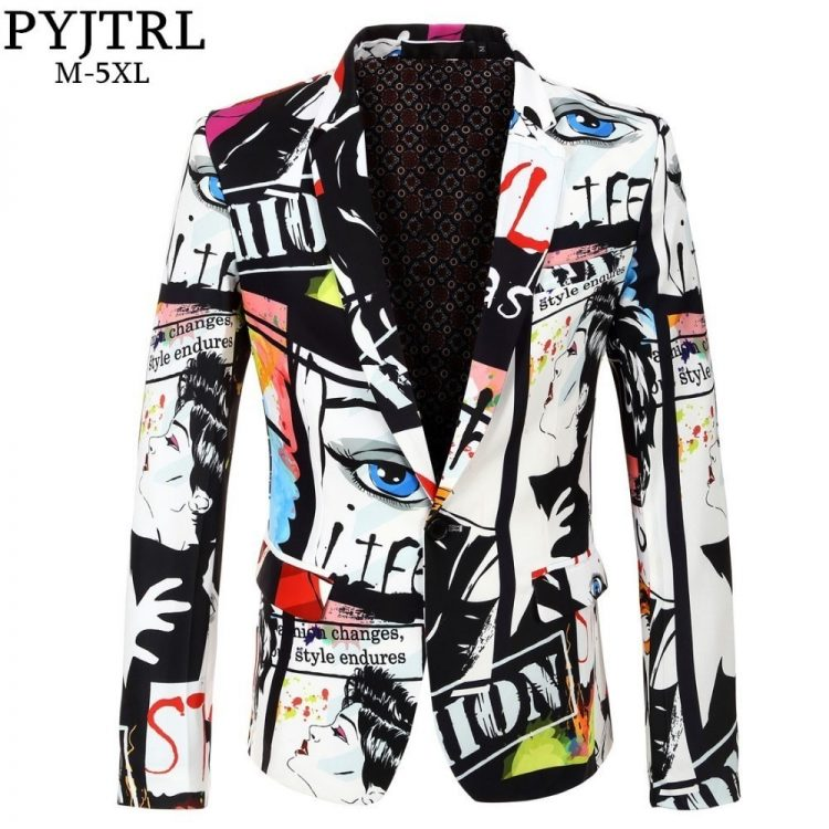 Fashion Print Blazer Singer Costume