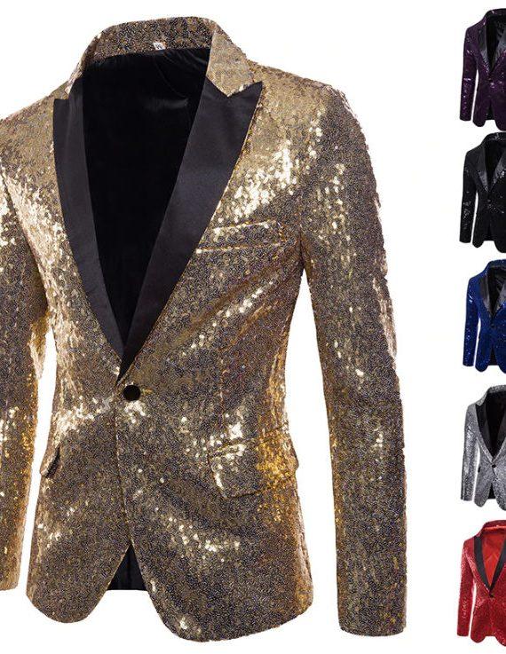 Gold Sequin Glitter Embellished Blazer