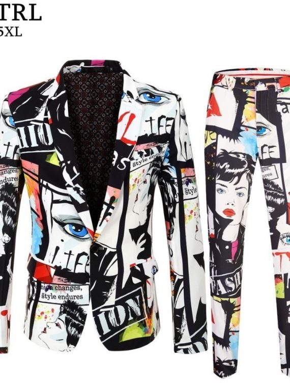 Men's Fashion Print Blazer Pant