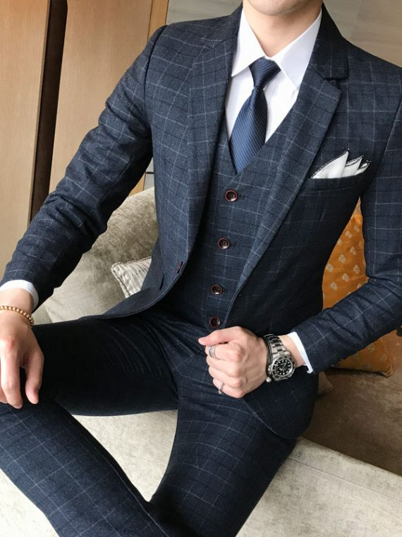 Men Jacket Vest Pants Suit