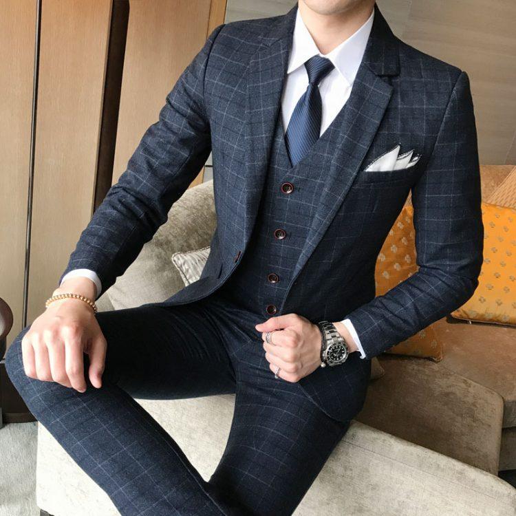 Men Jacket Vest Pants Suit
