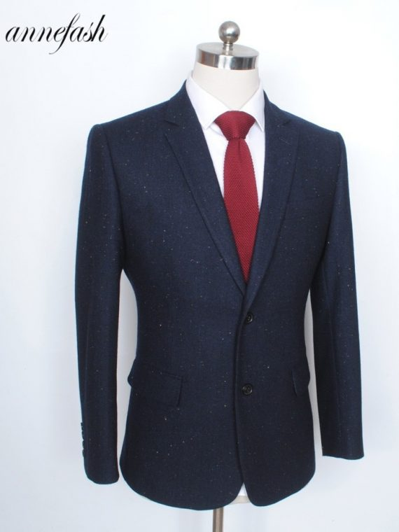 Navy Woolen Tweed Suit
