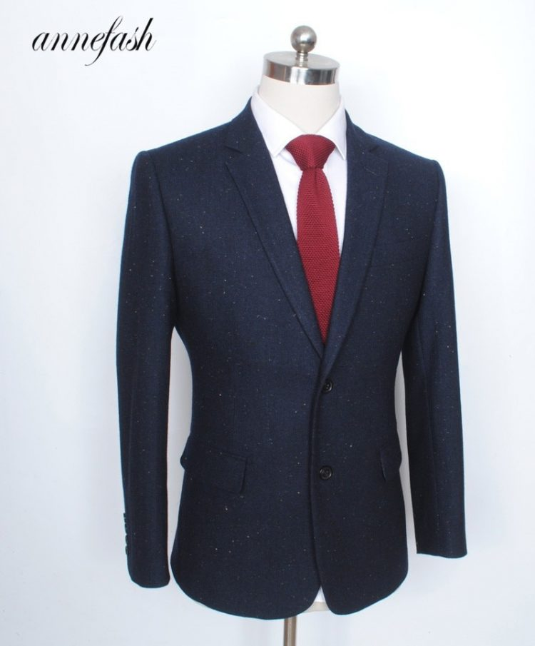 Navy Woolen Tweed Suit