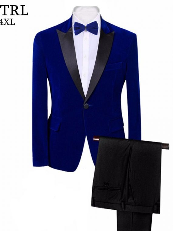 Royal Blue Black Wedding Groom