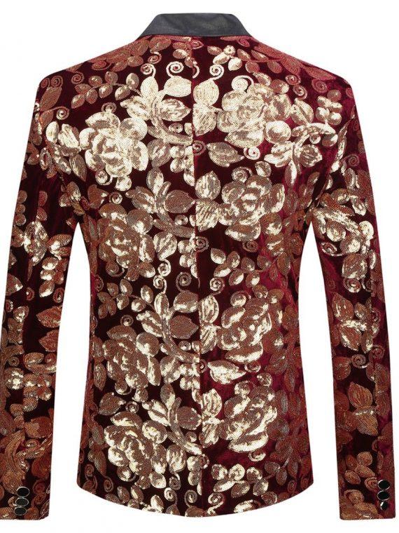 Velvet Gold Flowers Sequins Blazer