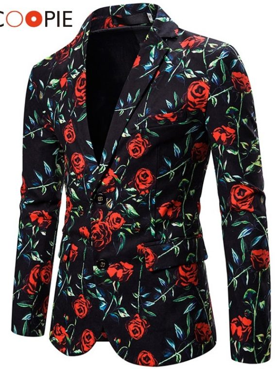 Floral Men Blazer Wedding Stage Blazers