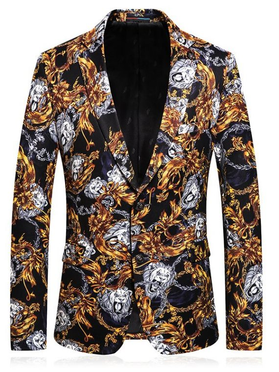 Flower Printed Suits Mens Party Dress