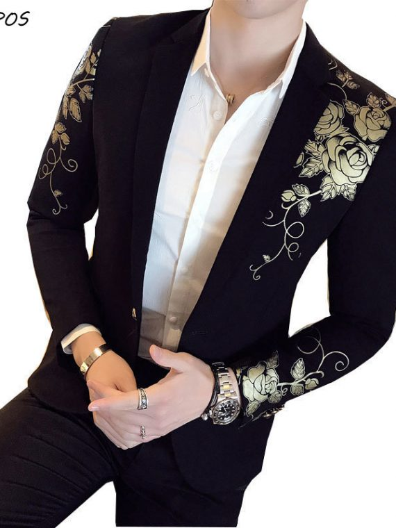 Gold Black Blazer Wedding Blaser