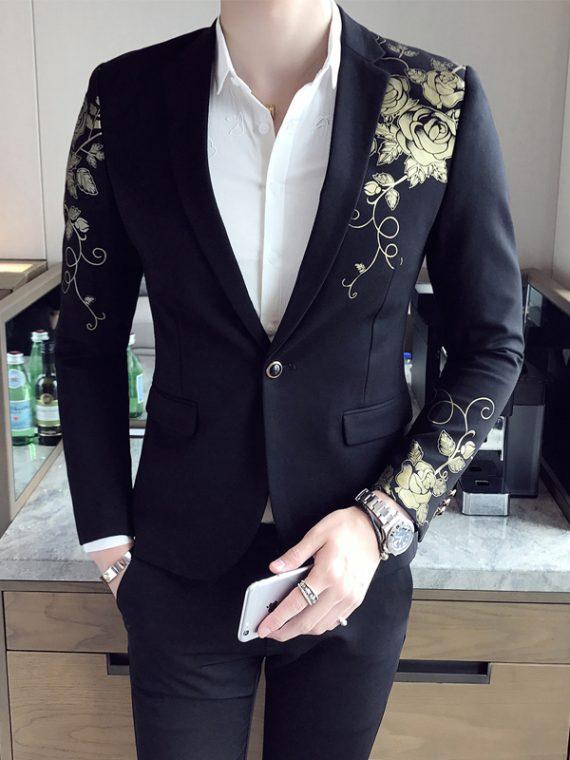 Gold Black Blazer Wedding Blaser