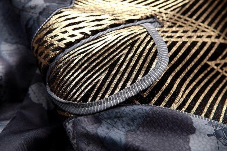 Gold Stripes Print Blazer