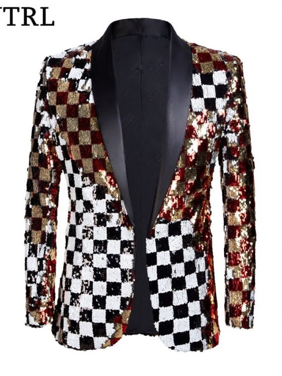 Gold White Black Sequins Blazer