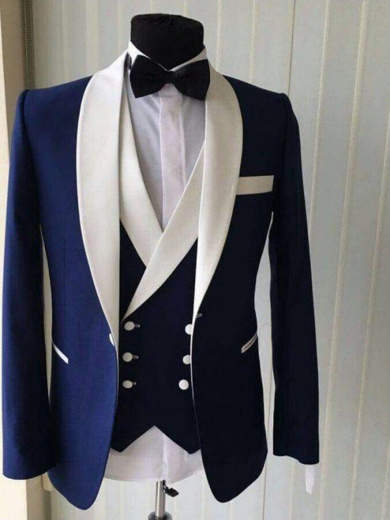 Groom Tuxedos Blue Men Suits