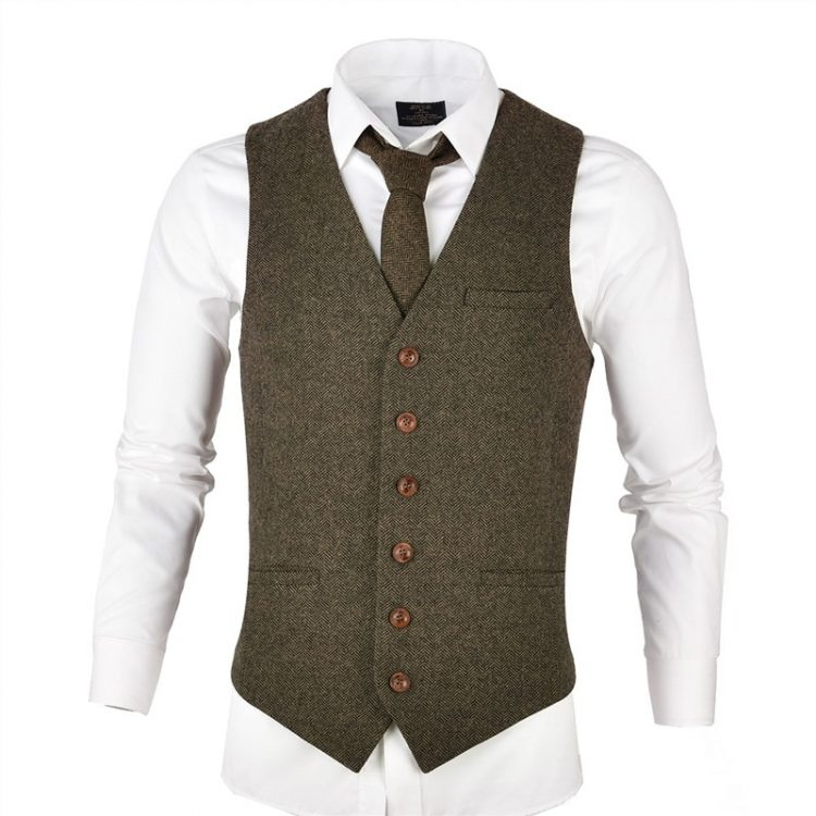 Herringbone Slim Fitted Suit Vests