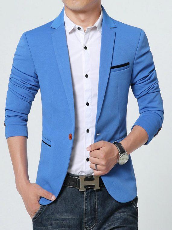 Men's Blazers Jacket One Button Blazer
