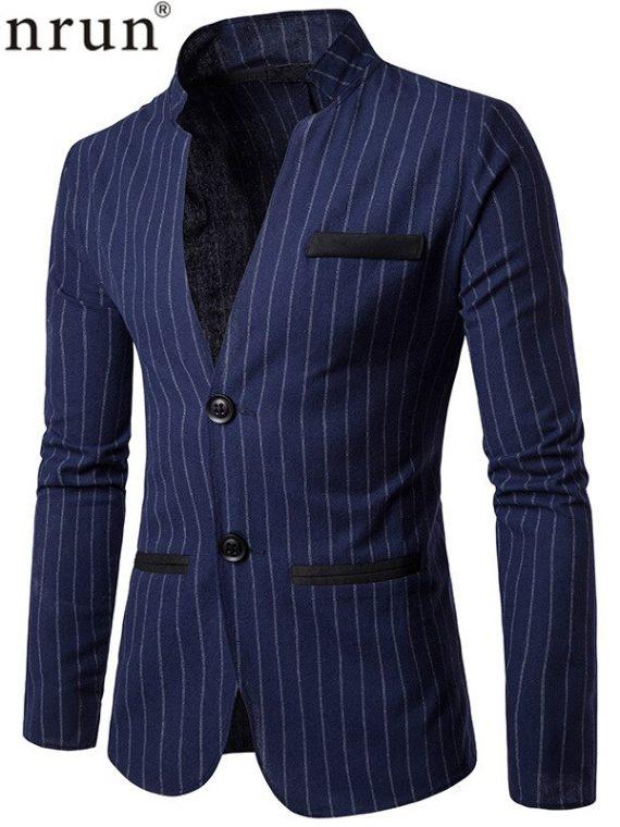 Business Blazer, casual blazer, Formal Jacket, Formal Suit, Party Blazer, Stage Blazer, Stand Collar Blazer, Stripe Jacket