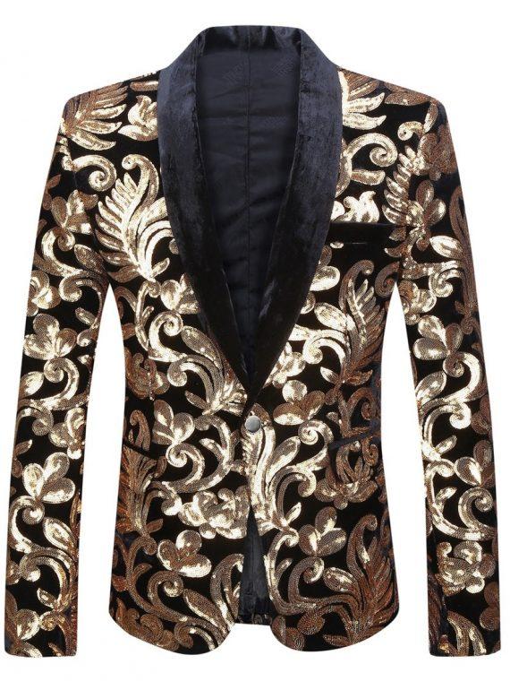 Men Shawl Lapel Blazer Sequins Suit Jacket