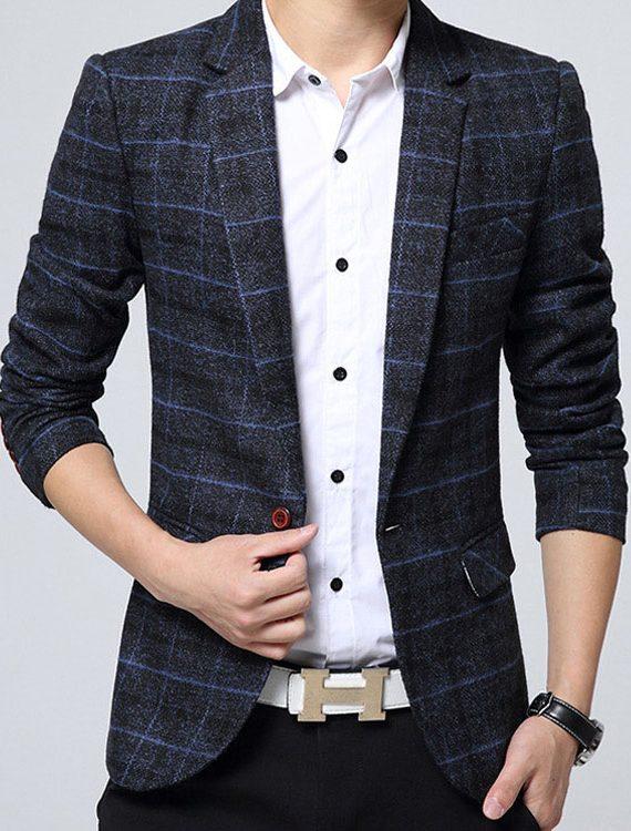 Men Suit Blazer Slim Male Suits