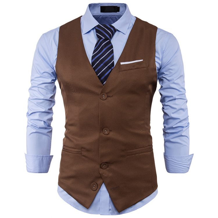Men Suit Vest Sleeveless Waistcoat
