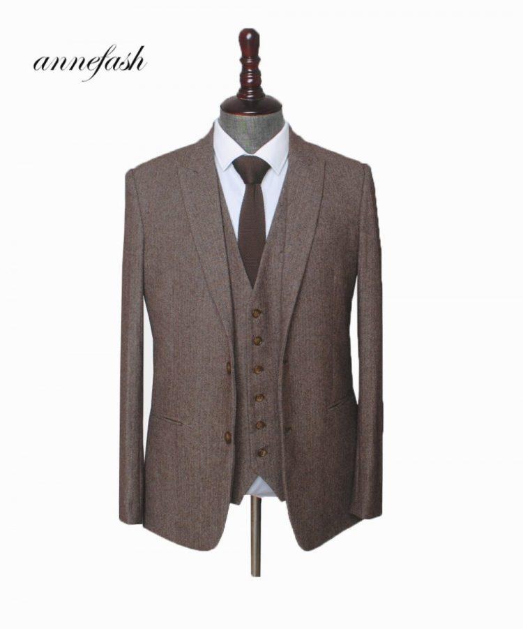 Tweed Men Wedding Suit British Style
