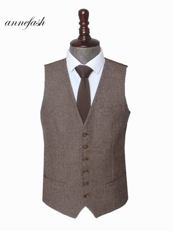 Tweed Men Wedding Suit British Style