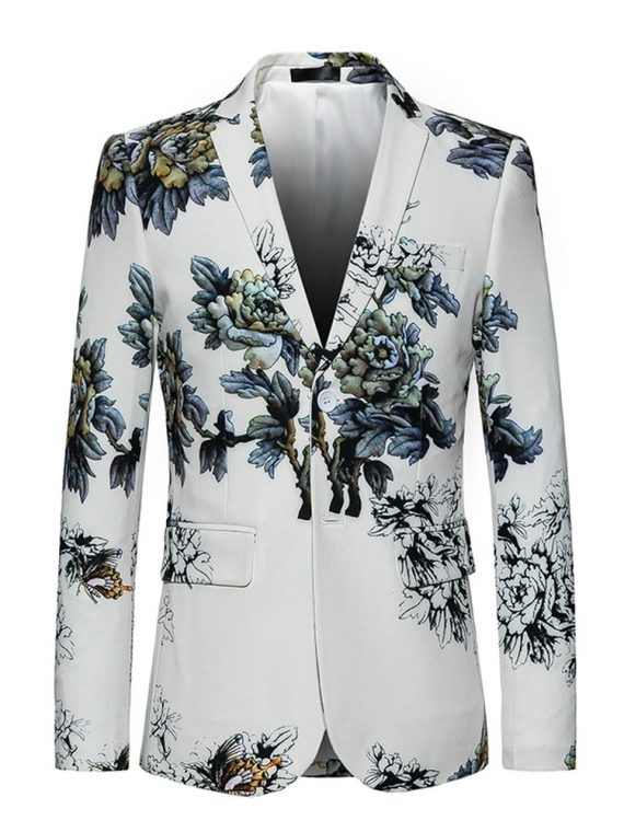 White Blazer Coat Print Flowers Blazer