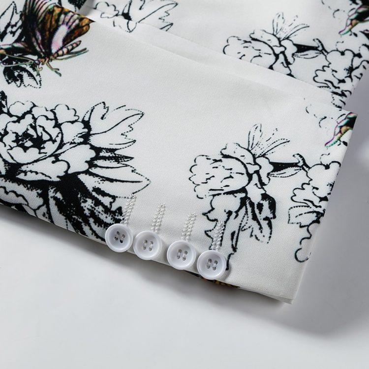 White Blazer Coat Print Flowers Blazer