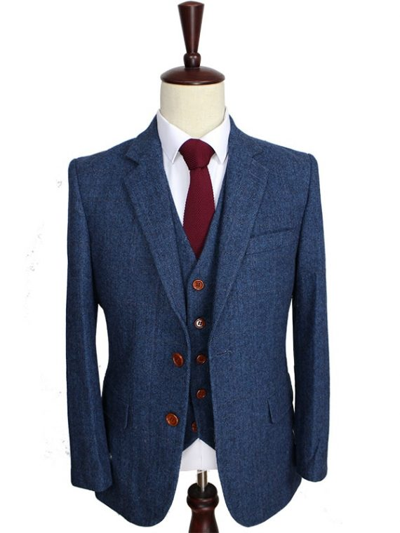Wool Blue Herringbone Custom Men's Suits