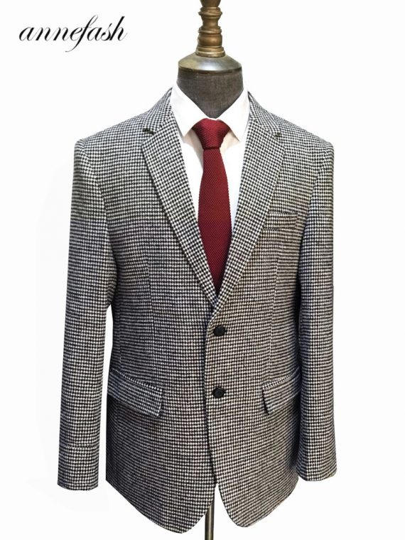 Woolen Houndstooth Blazer Wedding Suit