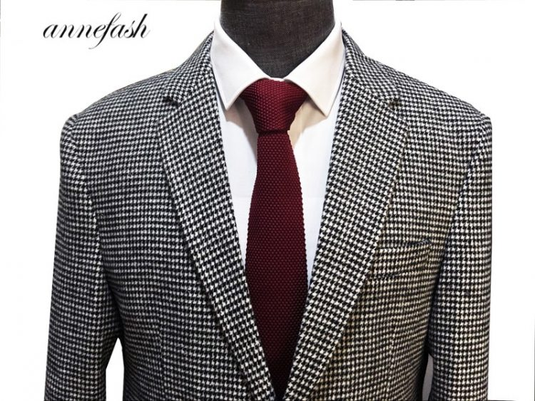 Woolen Houndstooth Blazer Wedding Suit