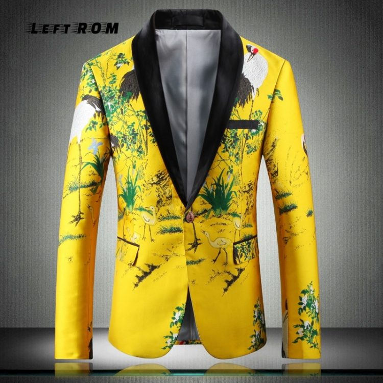 Yellow Suit Jacket Print Blazer