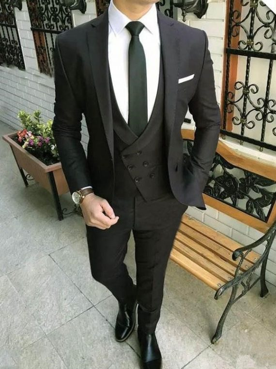 Black Lapel Suits Groom Custom