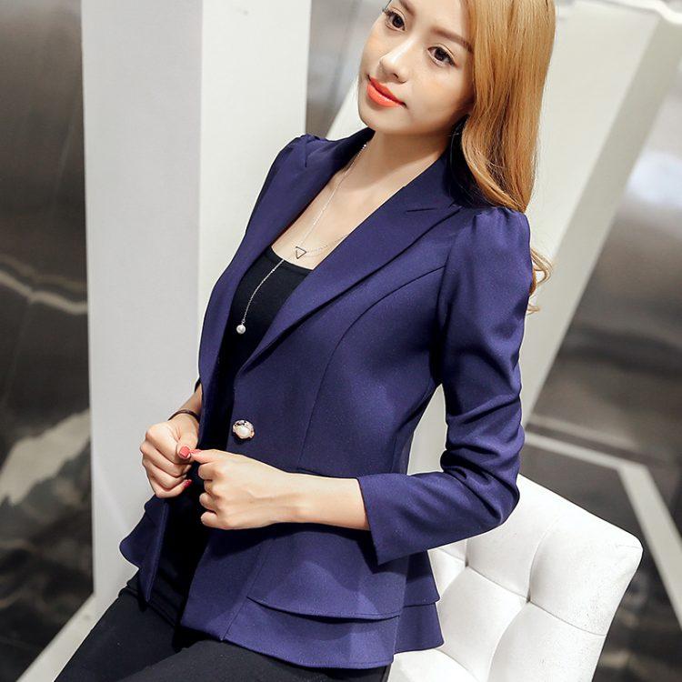 Fashion Single Button Blazer Women Suit