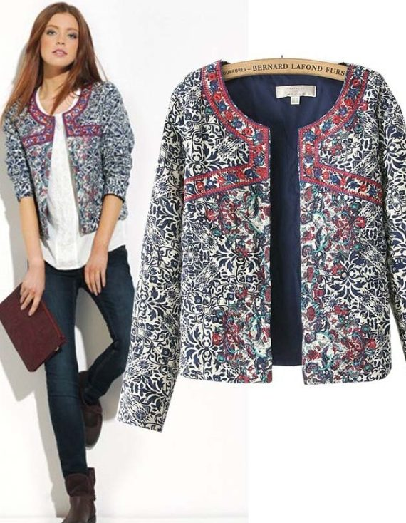 Floral Slim Jacket Coat Women Embroidery
