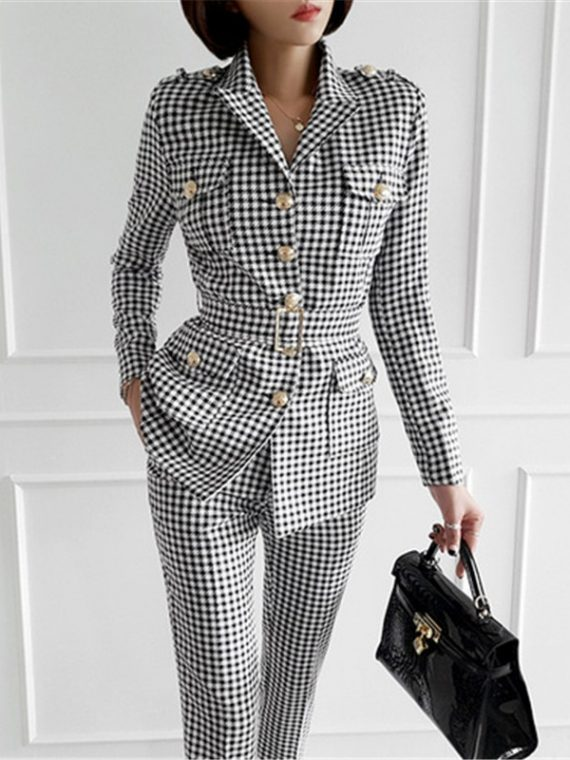 Ladies Plaid Suit Business Outfits