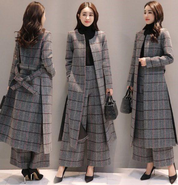 Long Trench Coat Casual Pantsuit