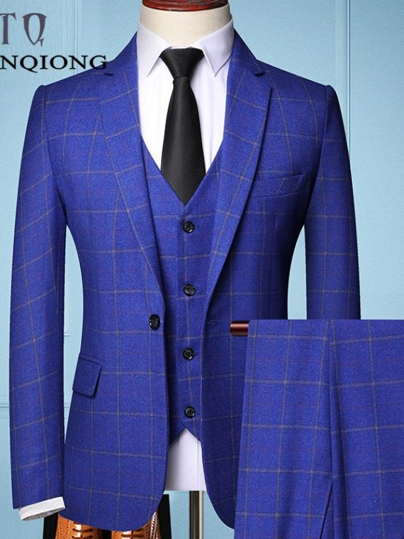 Male Formal Business Plaids Suit