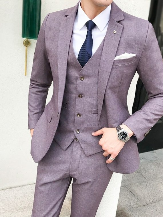 Men Plaid Suits Wedding Costume