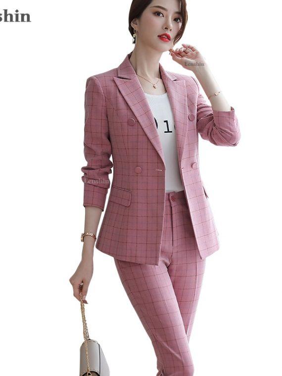 Plaid Formal Pant Suit Blazer