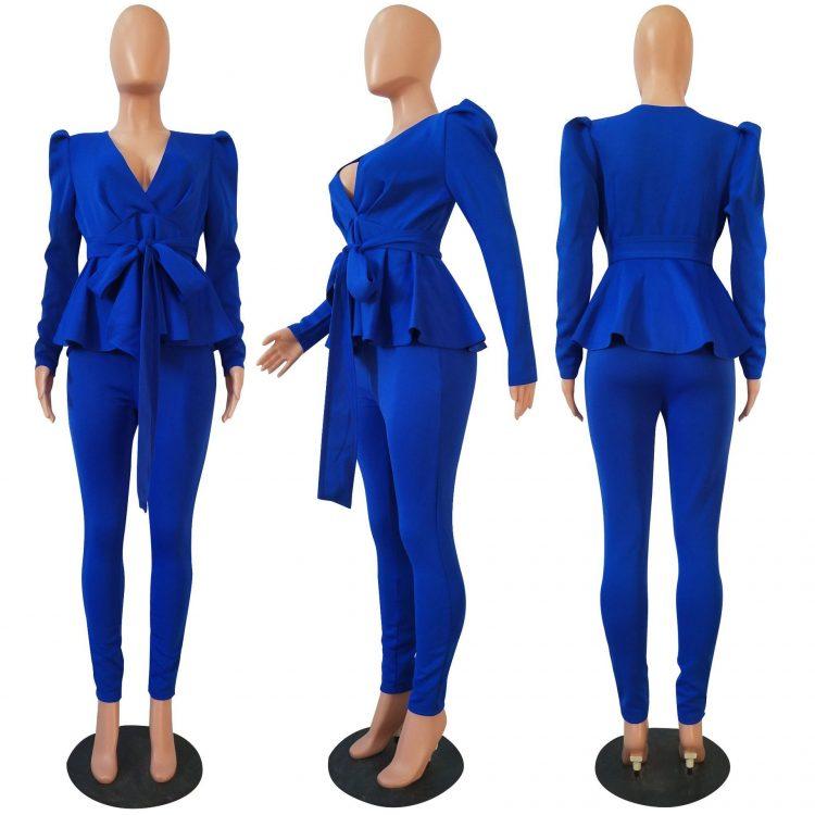 Ruffle Hem Blazer Long Pants Suit