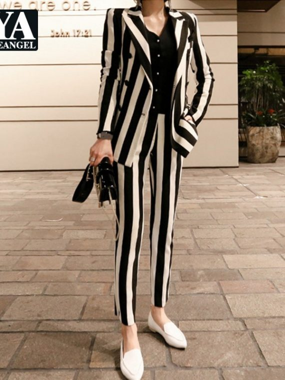 Striped Double Breasted Blazer Jacket
