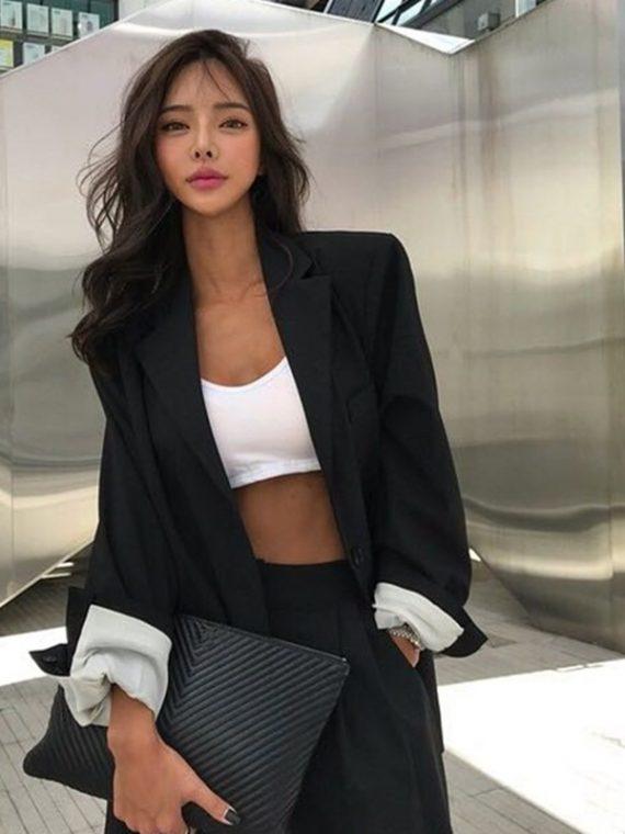 Women Blazer Fashion Vintage Jacket