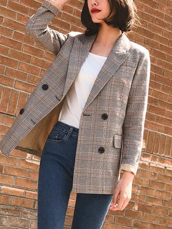 Women Blazer Female Retro Suits Coat