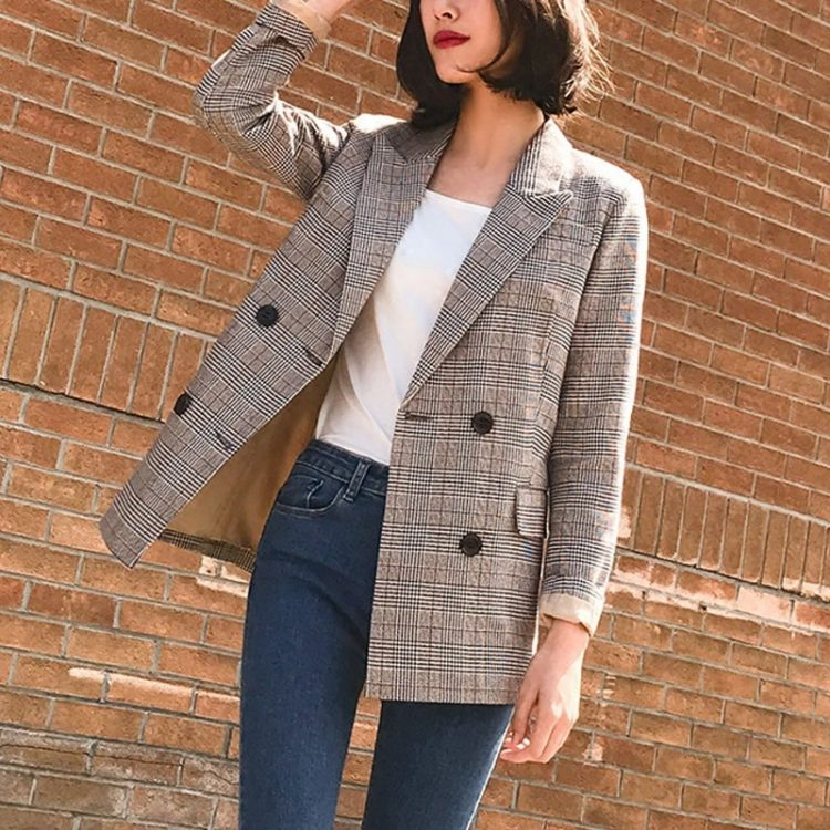 Women Blazer Female Retro Suits Coat