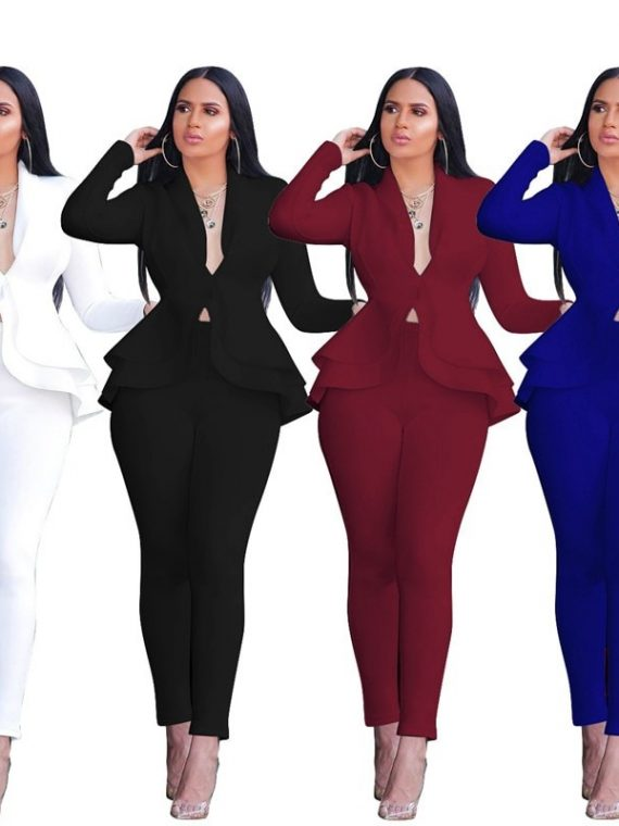 Women Business Tracksuit Ruffles Blazers