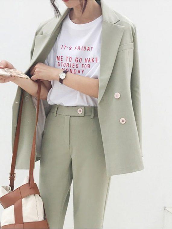 Women Pant Suit Notched Blazer