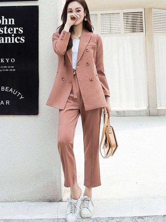 Women Pant Suits Collar Jacket Blazer