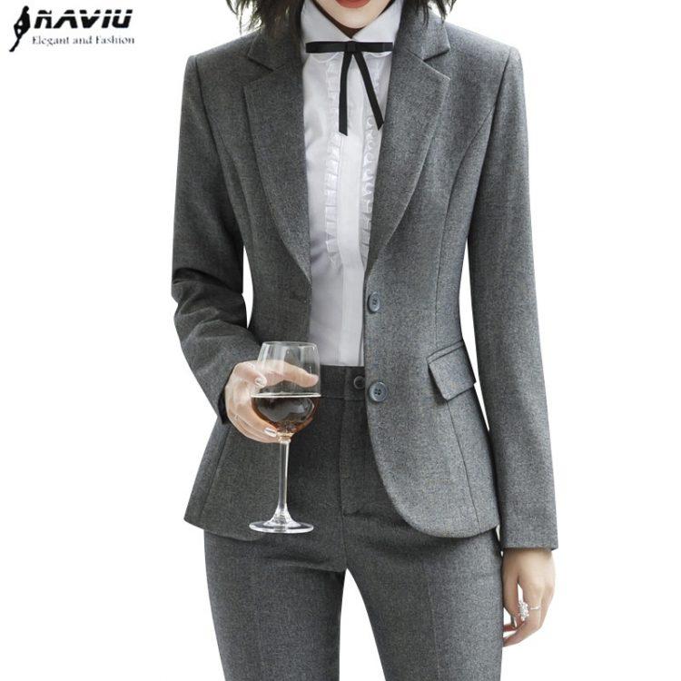 Women Pant Suits Long Sleeve Blazer