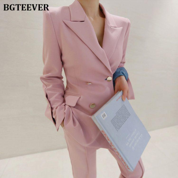 Women Pant Suits Notched Blazer