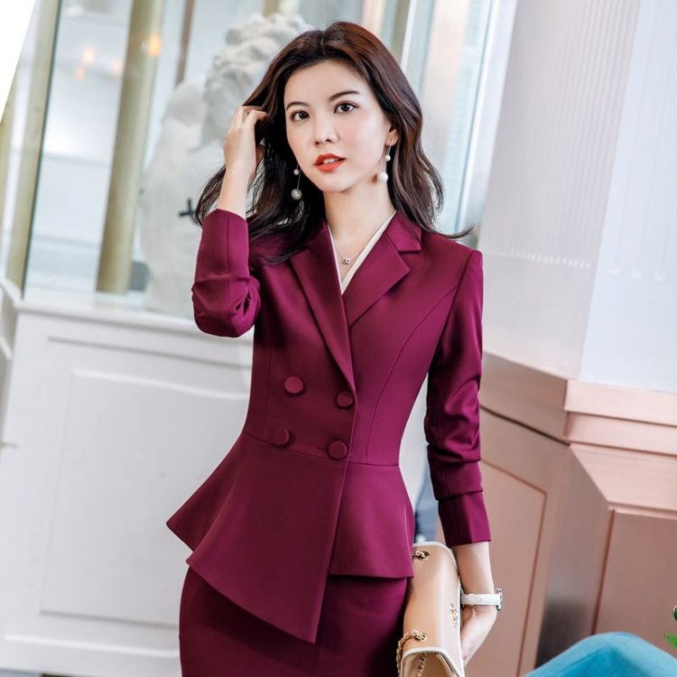 Women Red Blazer Lady Work Suit